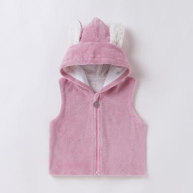 1~3歲兒童珊瑚絨馬甲秋季可愛印花開衫運動棉質馬甲外套