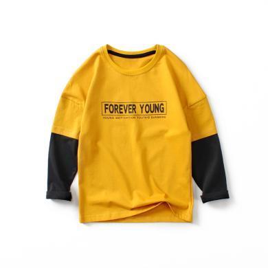 ocsco 春秋季新款韓版兒童撞色長袖男童假兩件長袖T恤百搭打底衫
