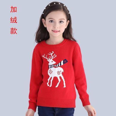 ocsco 童裝毛衣冬季新款小鹿毛衣兒童針織衫打底毛衫男女童加絨毛衣