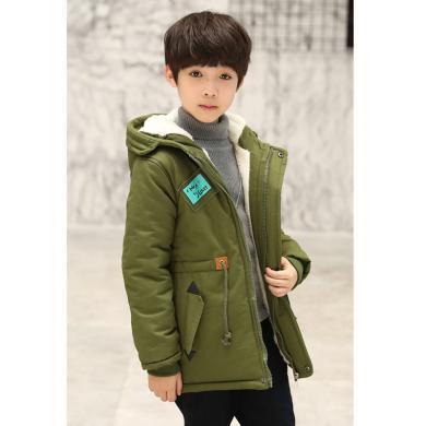 謎子 童裝棉服冬季新款男童棉衣加絨加厚棉襖中大童外套時尚連帽棉服潮