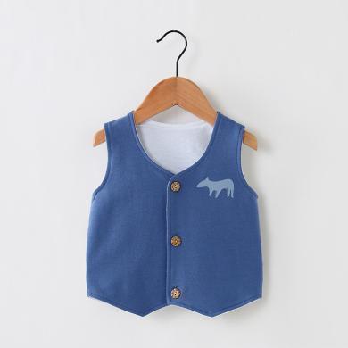 2019年嬰兒馬甲純棉秋季可愛小動物印花開衫運動棉質馬甲外套