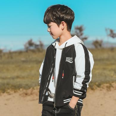 謎子 男童外套春秋裝新款童裝夾克中大童棒球服時尚拼色開衫10-15歲外套