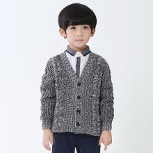 谜子 童装针织衫秋冬新款男童毛衣儿童加厚外套韩版针织衫开衫潮