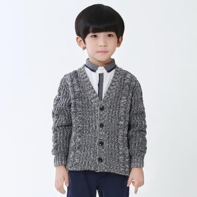 謎子 童裝針織衫秋冬新款男童毛衣兒童加厚外套韓版針織衫開衫潮