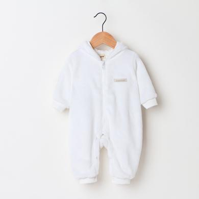寶寶衣服秋季新款珊瑚絨連帽嬰兒連體衣韓版哈衣爬服
