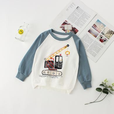 謎子 春秋季新款時尚卡通印花男女童衛衣個性拼接寬松中小童上衣