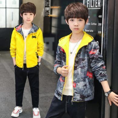 謎子 童裝外套春秋裝新款男童風衣中大童迷彩上衣雙面穿外套潮