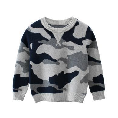 ocsco 男童毛衣春秋季新款氣質圓領寬松上衣迷彩針織衫中小童打底衫