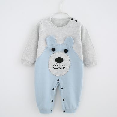 新款宝宝连体衣秋季婴儿衣服纯棉开档哈衣卡通长袖爬爬服童装