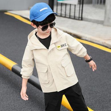 謎子 童裝外套春秋裝新款男童連帽夾克中大兒童風衣外套男時尚帥氣