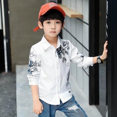謎子 童裝襯衫春秋裝新款男童打底衫中大童單花襯衫時尚百搭開衫潮