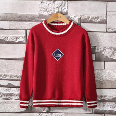 迪斯兔童裝 長袖毛衣男童紅色毛衣秋冬裝兒童針織線衫中大童套頭棉春秋款薄時尚洋氣長袖毛衣M2118