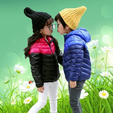 ocsco 童装棉服秋冬装新款男童棉衣女童棉袄中小童连帽外套时尚拼接