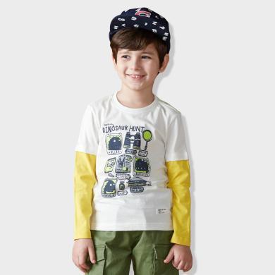 迪斯兔童裝 長袖T恤男童長袖t恤2019新款春秋裝棉中大兒童假兩件男孩上衣體恤韓版長袖T恤T2016