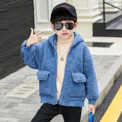 ocsco 童裝加絨外套冬季新款男童保暖開衫中大童羊羔毛外套韓版連帽上衣