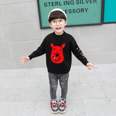 美純衣天使2019新款可愛童針織衫男童秋裝中小童兒童小熊毛衣PWY-ZC黃色維尼熊毛衣