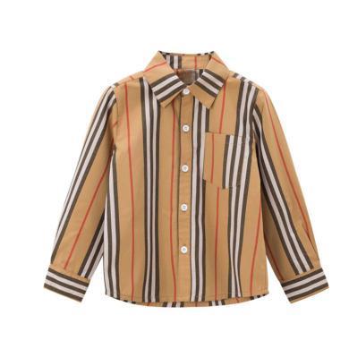 ocsco 男童襯衫春秋裝新款童裝襯衣中小童條紋上衣兒童打底衫