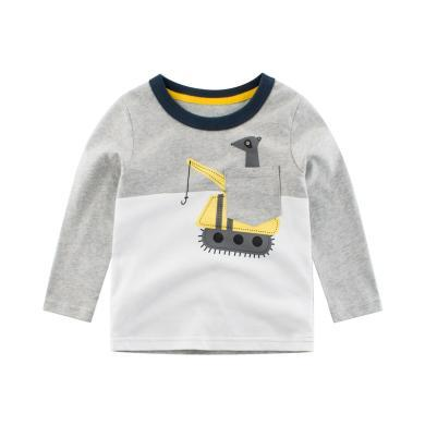 ocsco 男童T恤春秋裝新款童裝上衣中小童長袖打底衫3-8歲套頭衫