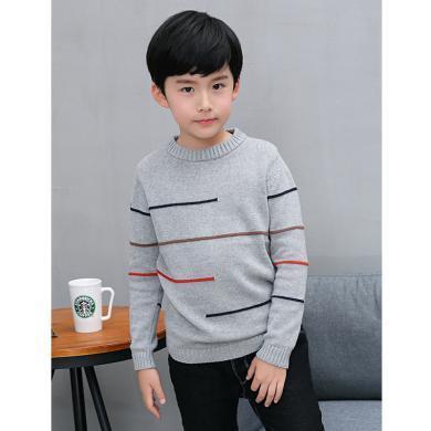 謎子 男童針織衫秋冬裝新款童裝毛衣中大童打底衫兒童線衣百搭套頭衫
