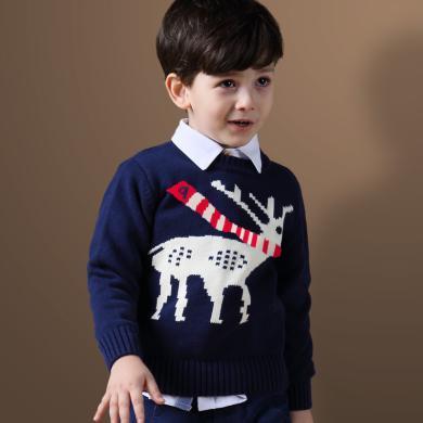 迪斯兔童装 长袖毛衣男童毛衣秋冬装中大儿童针织衫套头毛线衫加厚保暖针织毛衣加绒长袖毛衣M1545