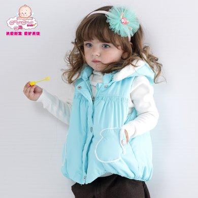 丑丑婴幼  女宝宝可爱连帽棉衣背心冬季女童时尚小手套棉背心 1-5岁 CGE452X