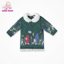 丑丑婴幼冬季新款女宝宝后开拉链百搭系列蕾丝边边棉连衣裙