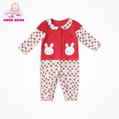 丑丑婴幼 新生儿假两件哈衣春秋女宝宝甜美可爱长袖前开哈衣、爬服、连体衣CGE065X