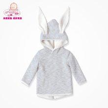 丑丑婴幼男女宝宝绒里外套 兔耳朵拉链衫保暖卫衣绒衫 1岁半-4岁
