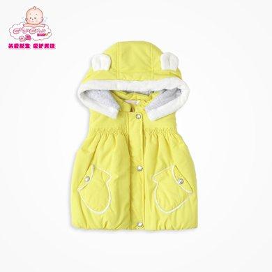 丑丑嬰幼  女寶寶可愛連帽棉衣背心冬季女童時尚小手套棉背心 1-5歲 CGE452X