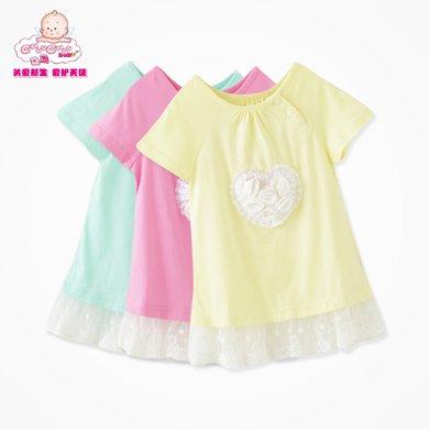 丑丑嬰幼 女寶寶時尚花邊針織衫 夏季女童短袖甜美可愛T恤、上衣CFE252T