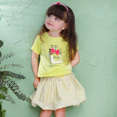 丑丑嬰幼 女童圓領上衣T恤夏季女寶寶甜美短袖T恤