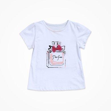 丑丑嬰幼 女童圓領上衣T恤夏季新品女寶寶短袖上衣T恤女童外出服