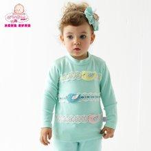 丑丑嬰幼女童春裝上衣 純棉長袖圓領圖案T恤可愛女寶T恤  1-3歲