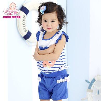 丑丑嬰幼 女寶寶小飛袖條紋T恤 夏季女童可愛蝴蝶結上衣6個月-3歲 CFE272X