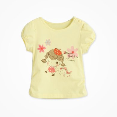 丑丑嬰幼夏季新款女寶寶休閑公主淑女套頭圓領純棉可愛T恤