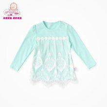 丑丑婴幼 1-4岁女宝宝春装新款韩版圆领纯棉长袖下摆蕾丝T恤CGE272X