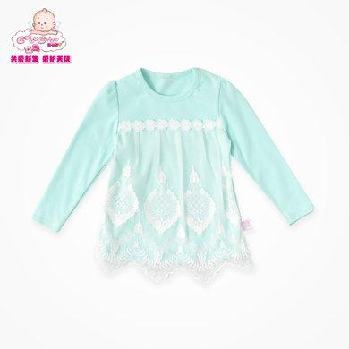 丑丑嬰幼 女寶寶長袖圓領T恤女童甜美可愛T恤、上衣1-4歲 CGE273X