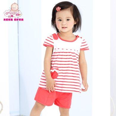 丑丑嬰幼 女寶寶甜美可愛圓領娃娃衫 夏季女童時尚條紋短袖T恤、上衣6個月-3歲 CFE278X