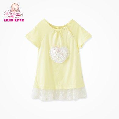 丑丑嬰幼 夏季新款女寶寶時尚花邊針織衫 CFE252T