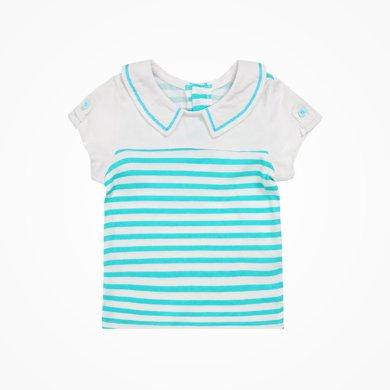 丑丑嬰幼 女寶寶短袖翻領T恤夏季女童時尚短袖條紋T恤上衣 CHE250T