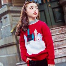 米妮哈鲁童装2018冬装新款女童韩版儿童针织衫纯棉毛衣ZG5494燚