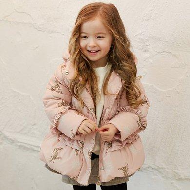 康衣兒寶寶羽絨服女童羽絨服小童印花中長款反季羽絨衣冬1-3-6歲