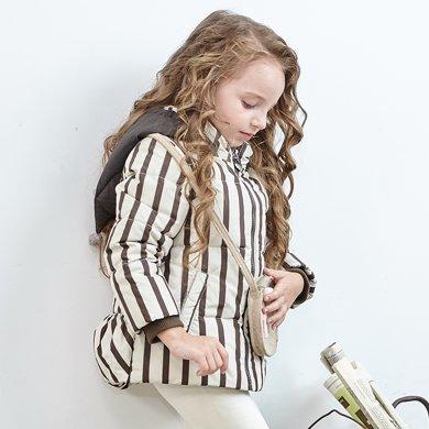 康?#38706;?#32701;绒服正品条纹女童羽绒服小童款宝宝羽绒服小女生外套
