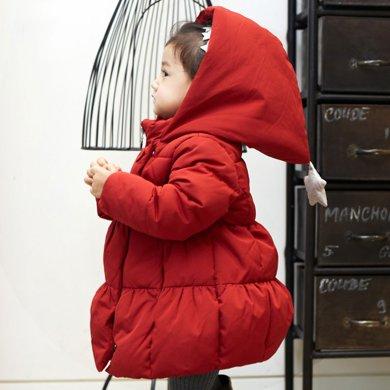 康衣兒女寶寶羽絨服加厚女童中長款兒童羽絨服女小童幼兒冬季外套