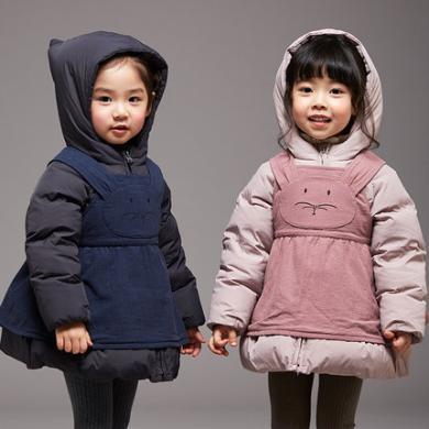 康衣兒寶寶羽絨服中長款1-3-6歲女童羽絨服小童連小圍裙冬裝外套