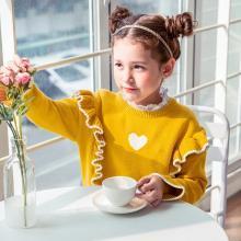 米妮哈鲁 纯棉韩版童装儿童女洋气针织衫女大童2018新款女童春装打底毛衣潮