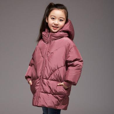 康?#38706;?#22899;童羽绒服中长款儿童羽绒服中大童宽松冬季童装外套