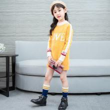 花样童依 2018秋新款韩版中长款拼色女童毛衣打底衫中大童针织衫上衣   KM703