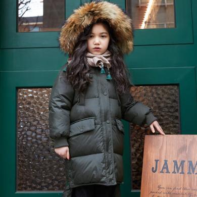 康衣兒女童羽絨服中長款加厚中大童羽絨服大毛領冬裝反季白鴨絨