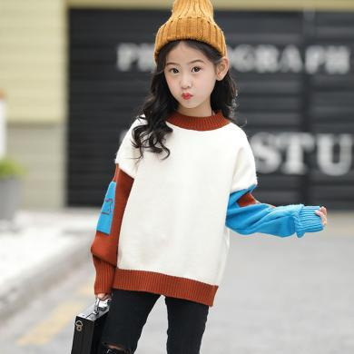 ocsco 中大童针织衫女童装秋冬装新款小女孩时尚撞色卡通儿童套头毛衣